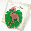 Flamingo and Monstera Leaf Brooch