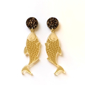 Fish earrings - engraved Gold Mirror with surgical steel studs