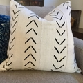 African mud cloth cushion cover white with black tribal pattern 50cm x 50cm
