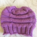 Hand knitted messy bun/ponytail hat beanie