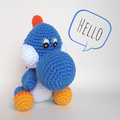 Blue yoshi styled crocheted dinosaur