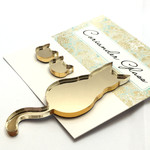 Cat Brooch with matching earrings in Gold Mirror acrylic