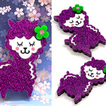 Llama Brooch in purple glitter acrylic - ONE ONLY