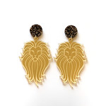 Lion earrings - engraved Gold Mirror with surgical steel studs