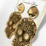 Sugar Skull earrings - engraved Gold Mirror with surgical steel studs