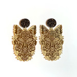 Wolf earrings in engraved Gold Mirror with surgical steel studs