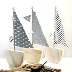 Set of three little sailing boats ....