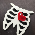 Skeleton Brooch with red heart and Swarovski crystal