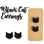 Black Cat earrings, 10mm with surgical steel studs