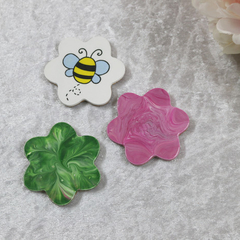 Set of 3 Flower Shaped Fridge  Magnets