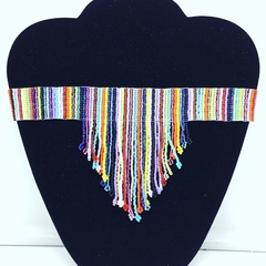 Rainbow coloured beaded choker necklace tassel drop bright