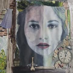 original alice in wonderland collage//unframed''.