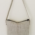 Oatmeal linen shoulder bag. Classic style suitable for most occasions