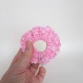 Crochet pink velvet scrunchie hair tie for pony, pig tails child size