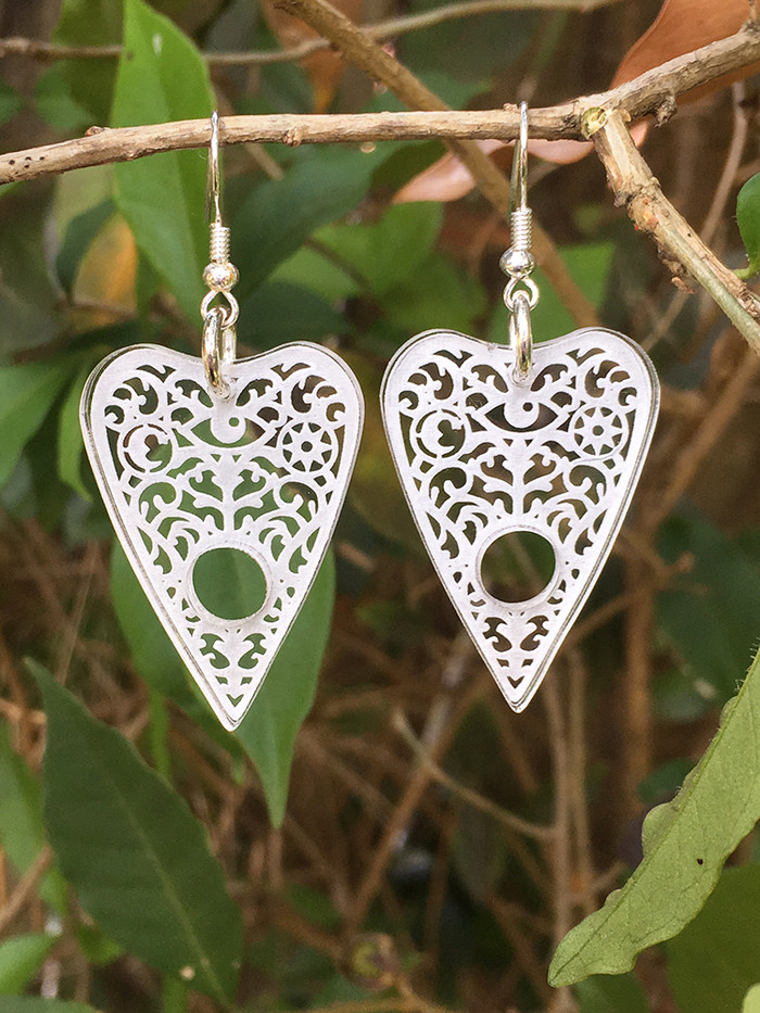 Ouija Planchette earrings - clear acrylic | Coriander Glass