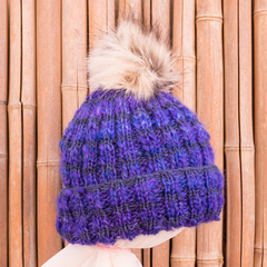 Adult beanie,  hand dyed wool, detachable faux fur pompom. Fashionable