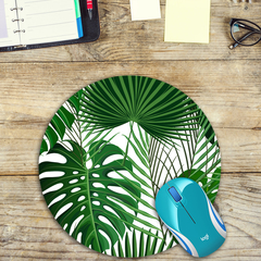 Monstera & Palm Leaves - Round Mouse Pad