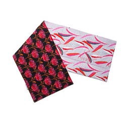 Australian native floral reversible table runner - Waratah/gum leaves