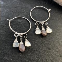 African Moonstone and white Moonstone sterling silver hoop earring