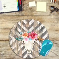 Chevron & Horns - Round Mouse Pad