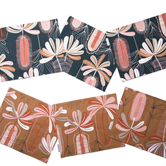 Australian native floral reversible placemat - Banksia