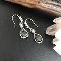 Handmade Seraphinite gemstone and Pearls sterling silver earring.