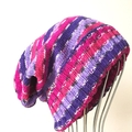Adult , Slouchy Beanie Hat , FREE POST Pink Purple White , Hand Knit , Acrylic