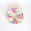 Rainbow confetti velvet scrunchie hair tie for pony, pig tails child size