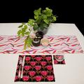 Australian native floral reversible table runner - Waratah/gum leaves