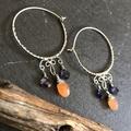 Peach Moonstone and Iolite hoop earrings in sterling silver.