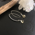 Black Spinel and Citrine sterling silver earring.