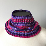 Neck warmer  /Cowl, Adult, Teen, Child Hand-Knit, Pink - Purple - White, Acrylic