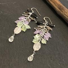 Multi gemstone sterling silver dangler earring.