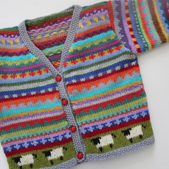 Grey Sheep Cardigan - Size 1-2 years- Hand knitted