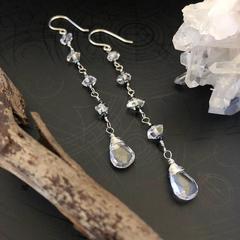 Herkimer diamond (Quartz), Clear Quartz & black Spinel sterling silver earring.