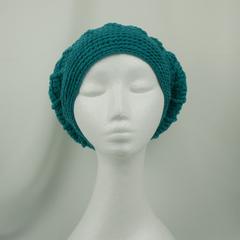 Hat loose back, Teal, 100% machine washable Australian wool