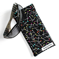 Padded Sunglasses Pouch in Sewing Pins fabric