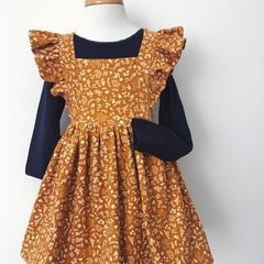 Size 2 Pinafore Dress - Mustard Floral Cord - Retro - Ruffles - Girls -