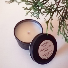 Fresh Pine & Fir Needle Scented 100% soy wax travel tin candle. 4oz