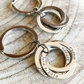Personalised Keyring, Russian Rings, Connecting Rings Keyring, Hand Stamped Gift
