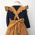 Pinafore Dress - Mustard Floral Cord - Retro - Ruffles - Girls - Sizes 1-4