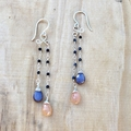 Peach Moonstone, African Moonstone and black Spinel earring in sterling silver.