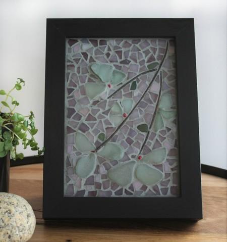 Framed seaglass flowers...