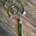 Whimsical green soldered green glass leaf pendant necklace, antique silver beads