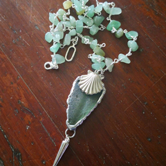 Soldered opaque, frosted seafoam green seaglass pendant with seashell