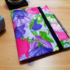 Sweet Pea & Lily A5 Fabric Journal Cover with Elastic Closure