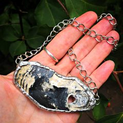 Eclectic, eco 'Relic of the sea' ocean tideline - black and white shell pendant