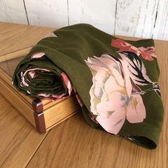 Infinity Scarf - double loop scarf - Olive Green Floral