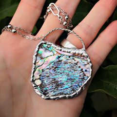 Boho mermaid soldered abalone paua pendant necklace, rustic, organic, natural