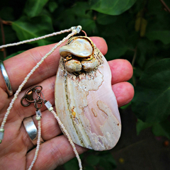 Dreamy 'Dawn Sea' NZ tumbled pink abalone seashell pendant - earthy organic eco